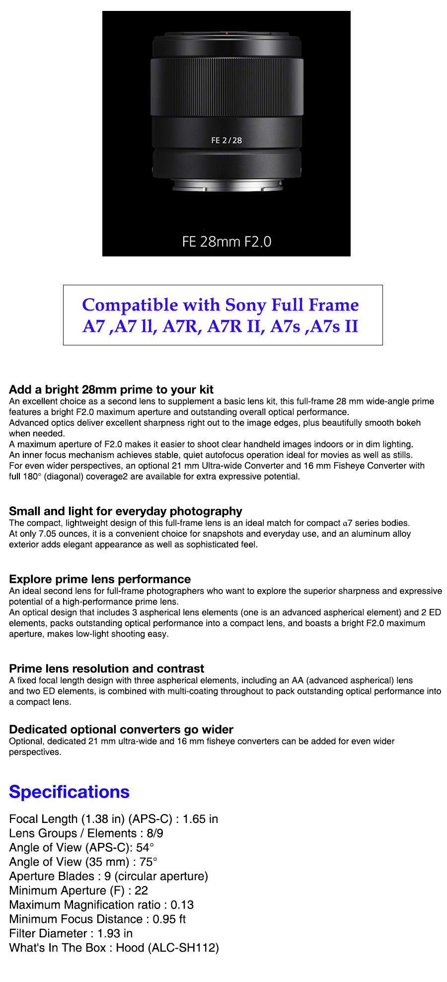 Sony SEL28F20 F2.0 FE28mm F20 For 35mm Full Frame A7 A7 II A7r A7r ...