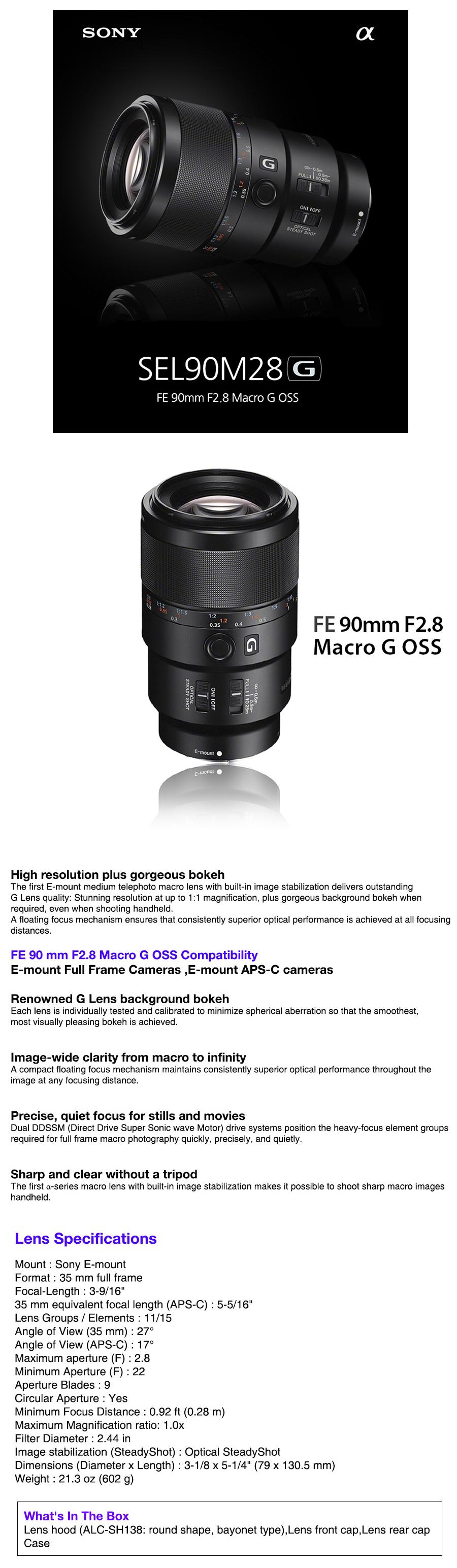 Sony SEL90M28G FE 90mm F2.8 Micro G OSS Lens ForSony E-mount Full ...