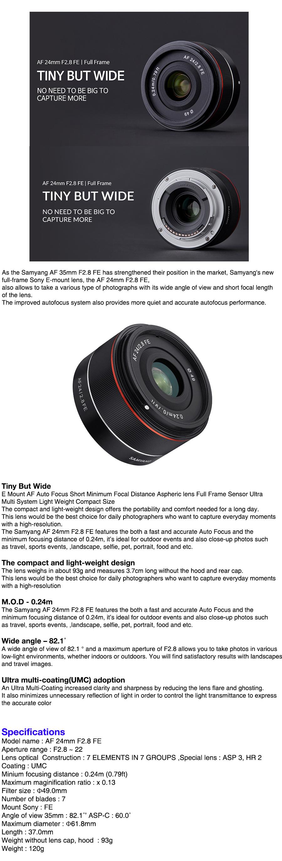 Samyang Optics New AF 24mm F2.8 FE Lens For Sony E-Mount Full Frame ...
